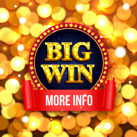 Big win background for online casino, gambling club, poker, billboard. Win poster tamplate with gold coins.