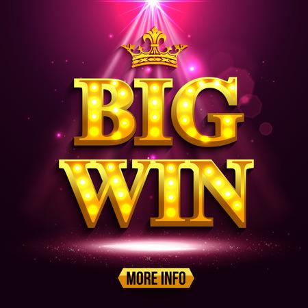 red banner: Big win background for online casino, gambling club, poker, billboard.