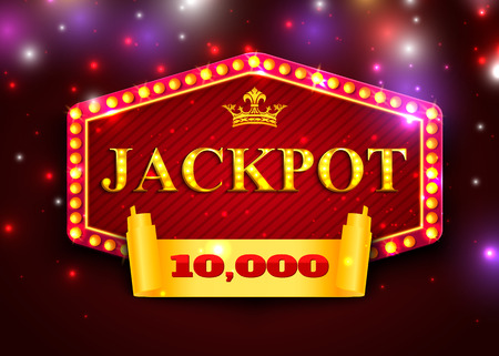 Jackpot background for online casino, gambling club. Jackpot poster template Illustration