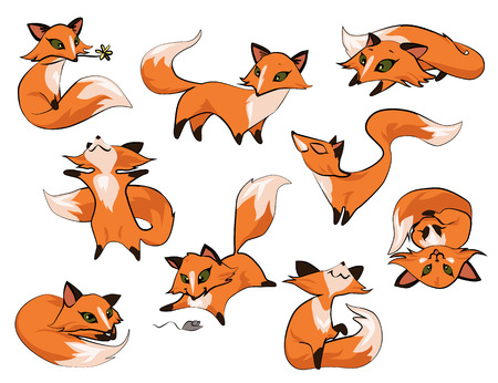 Set of cartoon cute foxes in different poses icons isolated on white background.