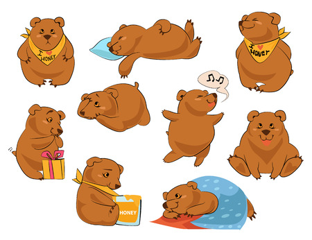Set of cartoon cute bears in different poses icons isolated on white background.