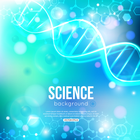 DNA on blue background biotechnology and medicine.