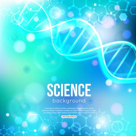medicine background: DNA on blue background biotechnology and medicine. Illustration