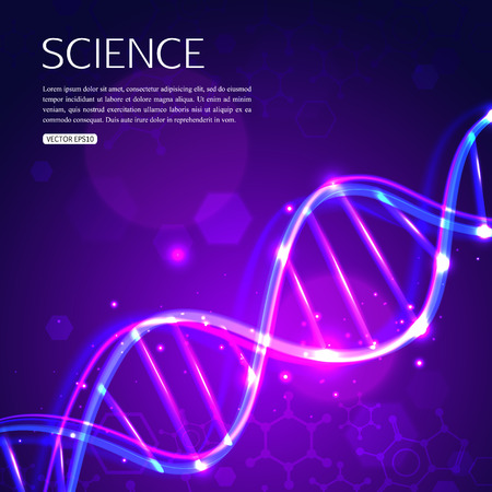 Glowing DNA on purple background biotechnology and medicine.