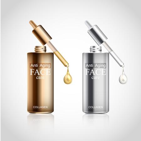 コラーゲン血清と顔のスキンケア クリーム年齢アンチ。瓶、ピペット、キラキラの液滴と化粧品の背景。クリームは、白い背景で隔離の現実的な瓶
