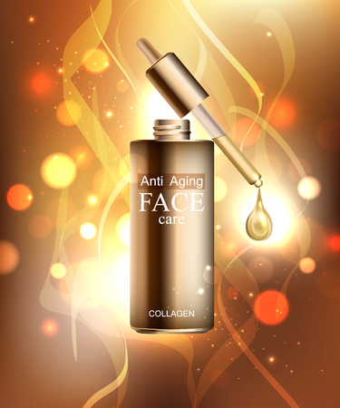 anti age: Anti age cream for face skin care with collagen serum. Cosmetic background with bottle, pipette and glitter droplet.