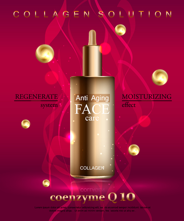 skin oil: Coenzyme Q10. Anti age cream for face skin care with collagen serum. Cosmetic background with bottle.