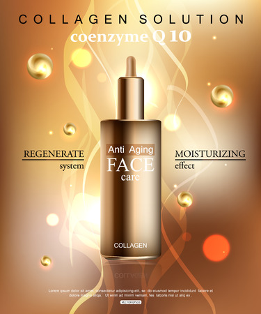 anti age: Coenzyme Q10. Anti age cream for face skin care with collagen serum. Cosmetic background with bottle.