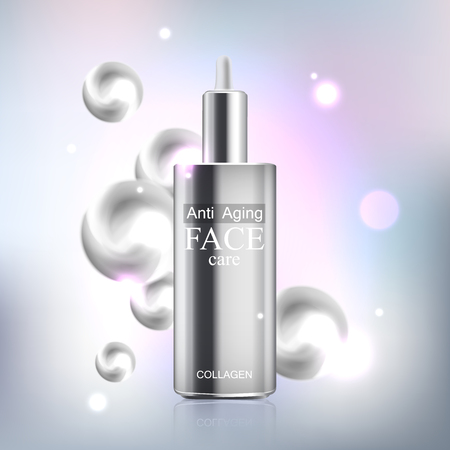 anti age: Anti age cream for face skin care with collagen serum. Cosmetic background with bottle.