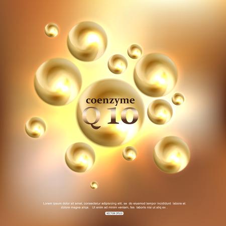 Co-enzym Q10 Cosmetic Achtergrond. Anti-rimpel crème voor Gezichtsverzorging Vector Illustratie