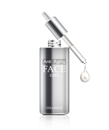 Anti age cream for face skin care with collagen serum. Cosmetic background with bottle, pipette and glitter droplet. Realistic bottle with cream isolated on white background. Vector illustration