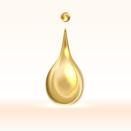 Collagen oil drop essence. Vector gold shining droplet isolated