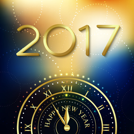 midnight: 2017 Happy New Year background with gold clock for poster, banner, placard. Fulfillment of desires.