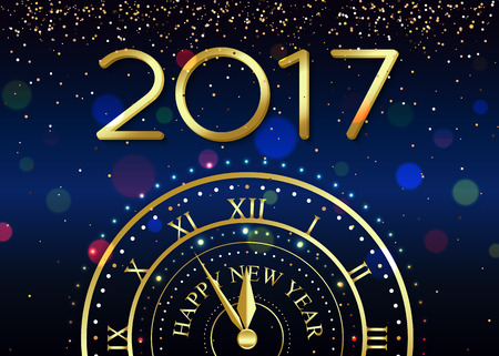 2017 Happy New Year background with gold clock for poster, banner, placard.