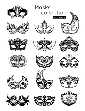 Set of party carnival masks icon isolated on white background.