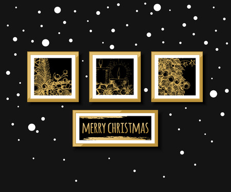 picture card: Gallery wall, merry christmas and happy new year card design. Vector illustration.
