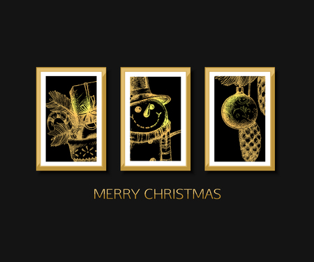 Graphic Design Muur : Gallery wall merry christmas and happy new year card design