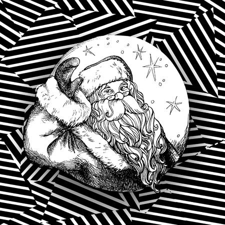 saint nick: Christmas Santa Claus vintage style. Vector illustration.