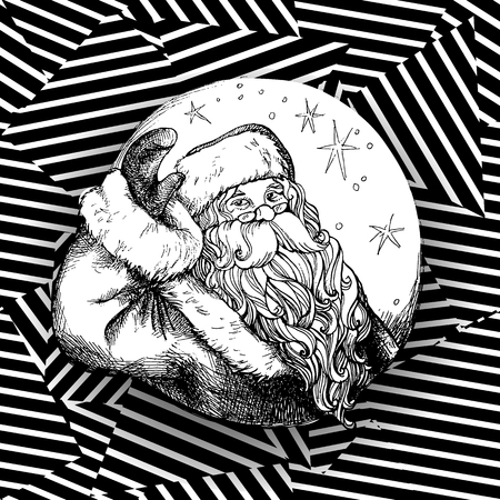 Christmas Santa Claus vintage style. Vector illustration.