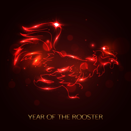 fire symbol: Red cock symbol 2017 by the Chinese calendar. Fire rooster template for card, banner, poster.