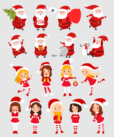 vector set: Set of Santa Claus and Christmas little girl cartoon flat icon isolated vector illustration