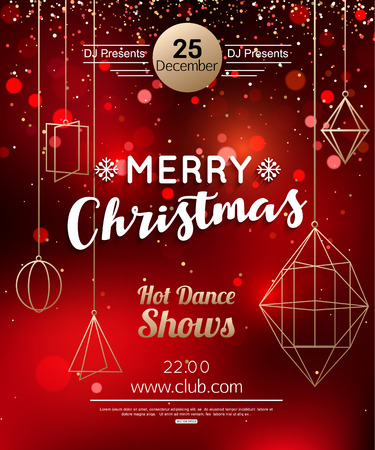 Christmas Party Flyer or Poster Design Template.