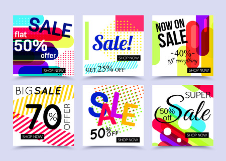 Collection of sale website banner templates. Vector illustrations for marketing, online shopping, mobile banner, advertising poster, ads, mailings and seasonal sales.