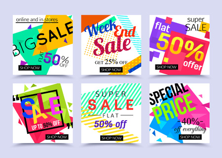 Collection of breathtaking mobile banners for online shopping. Vector illustrations for marketing, mobile banner, advertising poster, ads, mailings and seasonal sales.