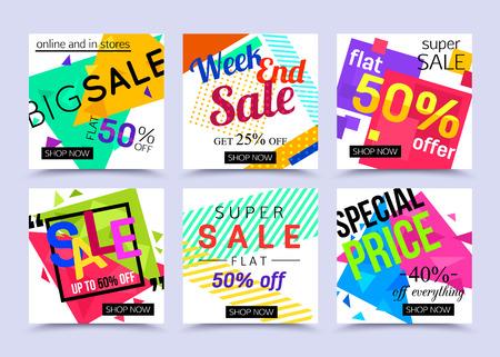 Verzameling van adembenemende mobiele banners voor online winkelen. Vectorillustraties voor marketing, mobiele banner, reclameaffiche, advertenties, mailings en seizoengebonden verkoop. Vector Illustratie