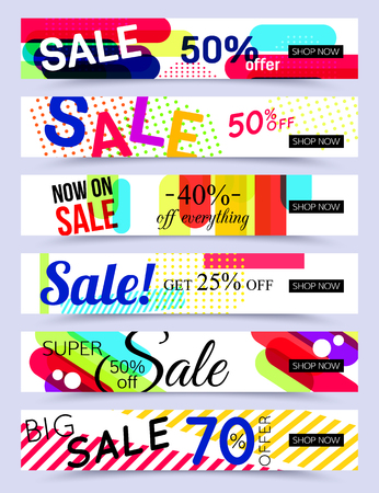 Collection of horizontal social media banners. Vector illustrations for marketing, online shopping, mobile banner, advertising poster, ads, mailings and seasonal sales.