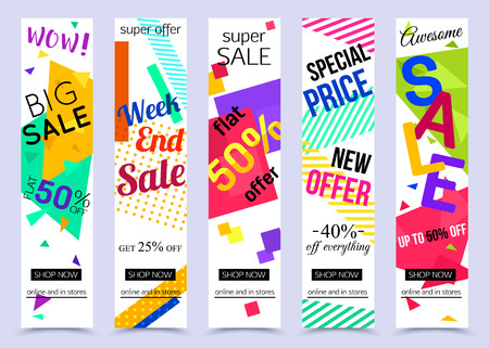 Collection of vertical social media banners. Vector illustrations for marketing, online shopping, mobile banner, advertising poster, ads, mailings and seasonal sales. Çizim