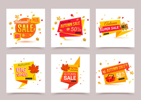 Collection of autumn sale banner template. Vector illustrations for marketing, online shopping, mobile banner, advertising poster, ads, mailings and seasonal sales.