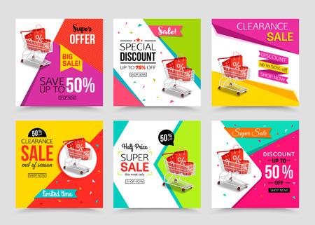 Colección de plantilla de banner de venta moderno. Ilustraciones del vector para la comercialización, compras en línea, de banner móvil, carteles publicitarios, anuncios, correos y las ventas de temporada.