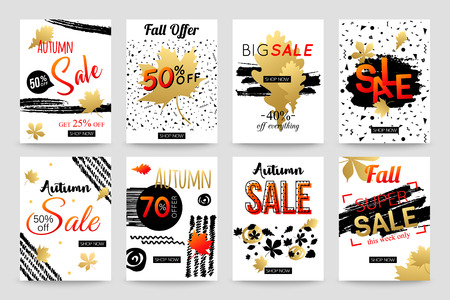 Collection of hand drawn autumn sale banner template. Vector illustrations for marketing, online shopping, mobile banner, advertising poster, ads, mailings and seasonal sales.