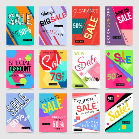 Collection of social media banner templates. Vector illustrations for marketing, online shopping, mobile banner, advertising poster, ads, mailings and seasonal sales. Stok Fotoğraf - 67180403