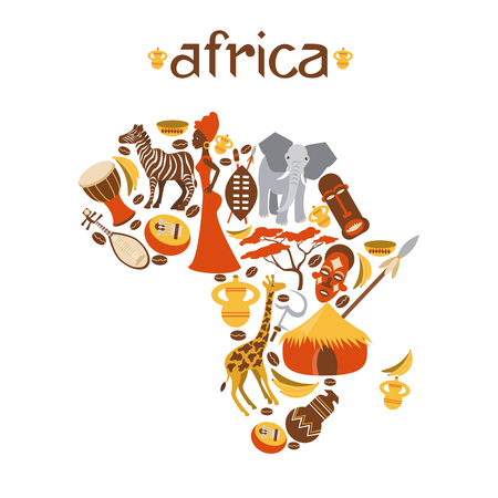 african tribe: Africa map vector illustration for travel agencies, mobile phone. Africa map background with icon. Illustration