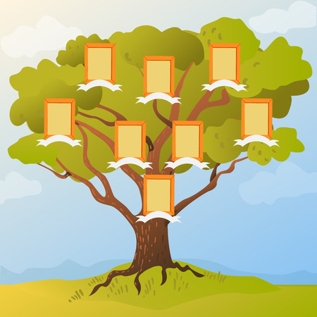ancestors: Family tree with frames for photos of family members. Vector illustration family tree flat style.