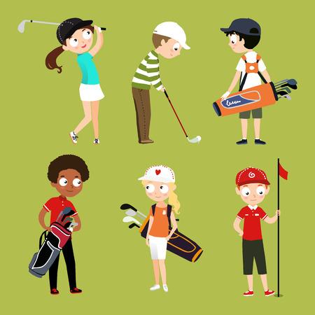 Niños jugando vector de campo de caracteres aislados para el sitio web deportivo de la escuela de golf Foto de archivo - 67181036