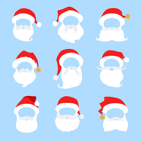 pompon: Santa hat, beard and mustache icon isolated on blue background. Santa claus christmas vector elements for your design.