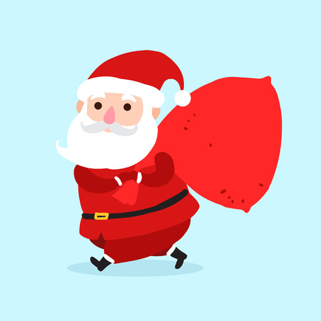 Santa Claus with sack cartoon character icon isolated on blue background. Santa background for christmas greetings card, banner, poster, invitation. Illustration