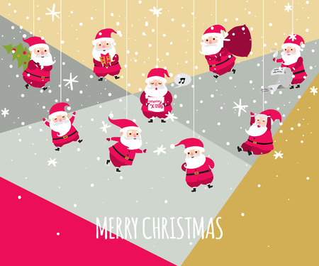 greetings card: Christmas greetings card with santa claus. Illustration