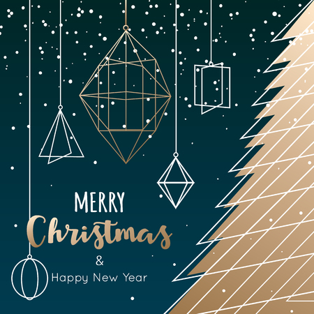 Geometric christmas tree and decoration for winter holidays card Illustration