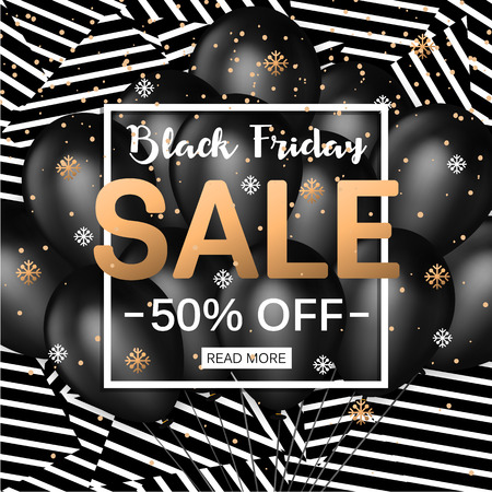 opening: Black Friday Sale Banner Template with Black Balloons over Striped Background. Black Friday Poster for shopping, mobile devices, online shop. Vector illustration.