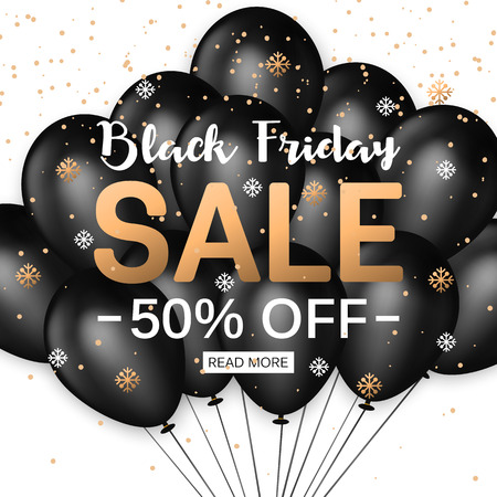 grand sale: Black Friday Sale Banner Template with Group of Black Balloons for shopping, mobile devices, online shop. Vector illustration. Illustration