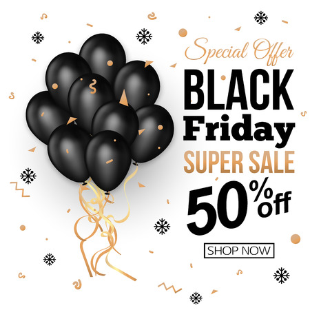 Black Friday Sale Banner Template with Black Balloons . Vector illustration.