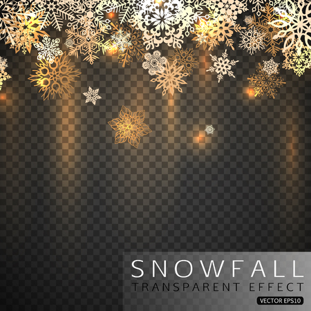 christmas background: Falling snowflakes on transparent background. Gold shining Christmas snowflakes vector illustration.