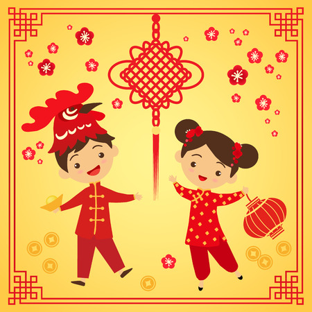 chinese new year vector: Chinese New Year greeting card. Boy and girl in traditional Chinese clothes participate in the carnival. Cartoon boy in mask rooster vector illustration