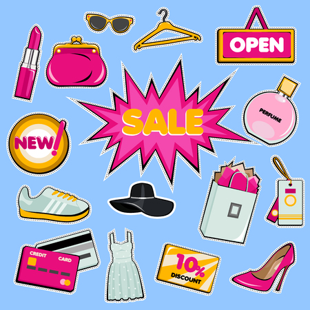 shopping icon: Set of shopping patch badges. Vector shop stickers. Pop art illustration with hat, shoes, clothes, perfume, purse. Illustration