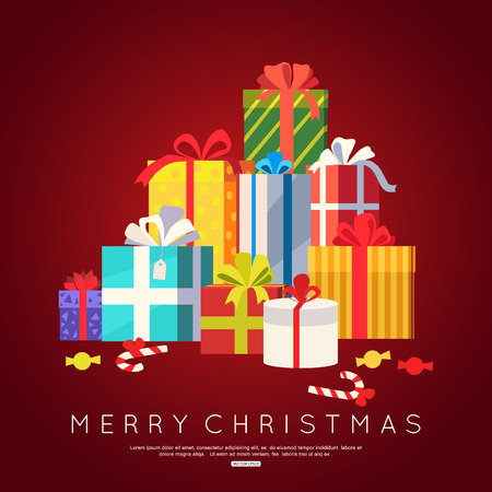 chrismas card: Big pile of colorful wrapped gift boxes for Chrismas greeting card Illustration