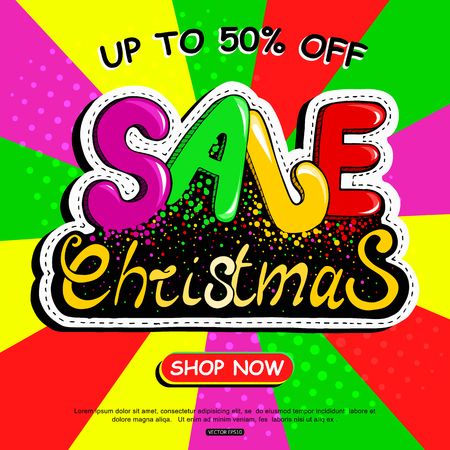 Colorful Christmas sale banner vector pop art comic style Vectores
